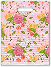 9x12 (100) Pink Floral Roses Designer Retail Boutique Merchandise Bags with Handles Premium Printed Shopping Bags