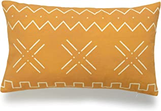 Hofdeco African Mudcloth Lumbar Pillow Cover ONLY, Mustard Yellow X Stripes, 12