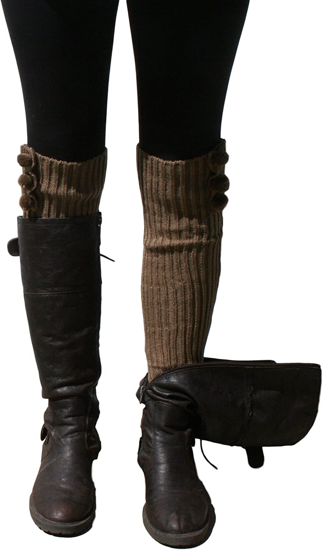 Blue 55 Women's Leg Warmers Cute Versatile Long Fashionable Knit w/ Pom Poms Taupe One Size
