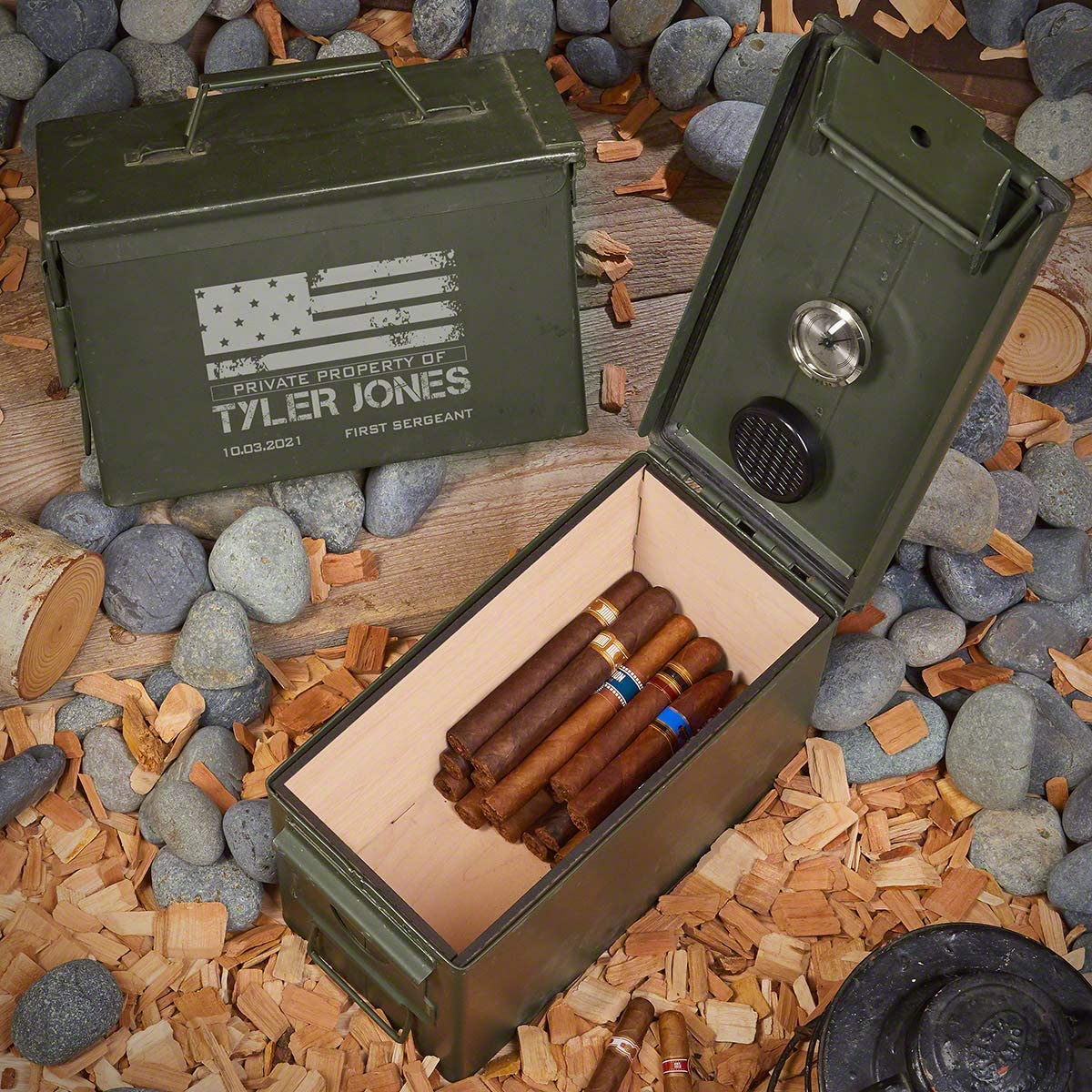 HomeWetBar American Heroes Personalized Popular brand in the world 50 Cigar Cal Humidor 35% OFF Mil