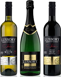 comprar comparacion Vino desalcoholizado - LUSSORY - Blanco+Tinto+Espumoso (Lote de 3botellas x0,75) SIN ALCOHOL