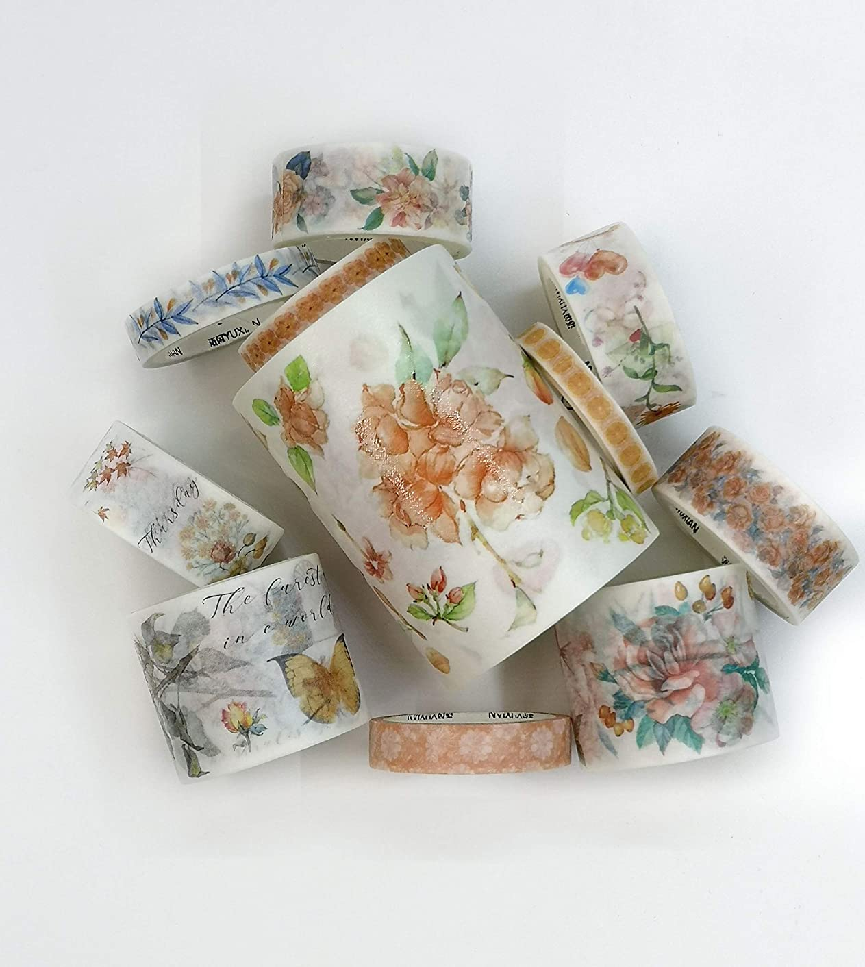 Peach Roses washi Tape Set of 11 Rolls. INCL Extra Wide Tape! for scrapbooks, Gift Wrapping, Crafts and decoupage