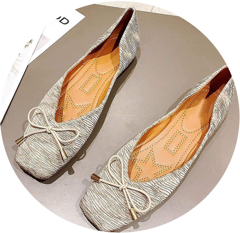 JIESENGTOO 2019 Fashion Newest shoes Women Flats Shallow Slip-On Single Soft Office Footwear Females Footwear 40