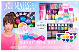 YouNiverse Super Spa Set by Horizon Group Usa, Ultimate DIY Girl STEM Science Kit, Make Your Own Lip balms, Shimmer Lotions & Rainbow Soaps, Multicolored (76141)