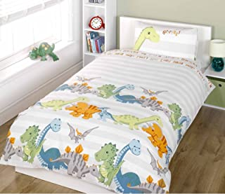 PCJ SUPPLIES KIDS BOYS GIRLS TWIN WHITE NATURAL STRIPED DINOSAUR COTTON DUVET SET QUILT COVER RH