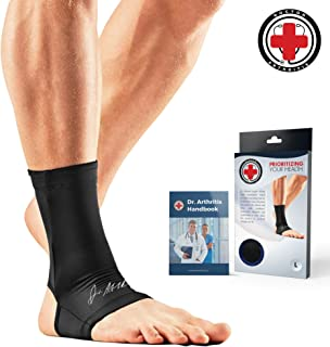 Doctor Developed Copper Ankle Compression Sleeve/Ankle Support Ankle Brace, Foot Sleeve [Single] and Doctor Written Handbook —Guaranteed Arthritis Relief, Plantar Fasciitis & More (S)