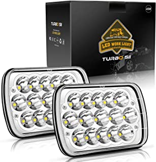 TURBOSII DOT APPROVED 45w Rectangle 5x7 7x6 Led Headlights Hi/Low Sealed Beam H4 PLUG H6054 H5054 6052 For Jeep Wrangler YJ Cherokee Xj Toyota pickup International Motorhome Truck, 2Pcs