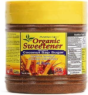 Manila Coco Organic Sweetener Coconut Sap Sugar 500gm : Virgin [no sulfite] nectar : Wood-fired slow cook open pan: NOT harsh LPGas cook: native caramel brown : NOT Blonde : Low GI 35