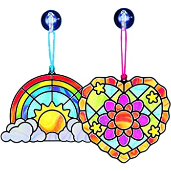 Melissa & Doug Stained Glass Made Easy - Rainbow And Hearts Ornaments