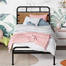 Zinus Santa Fe Single Bed Frame Metal and Wood with Pine Headboard and Footboard | Mattress Base Support Wooden Slat Black...