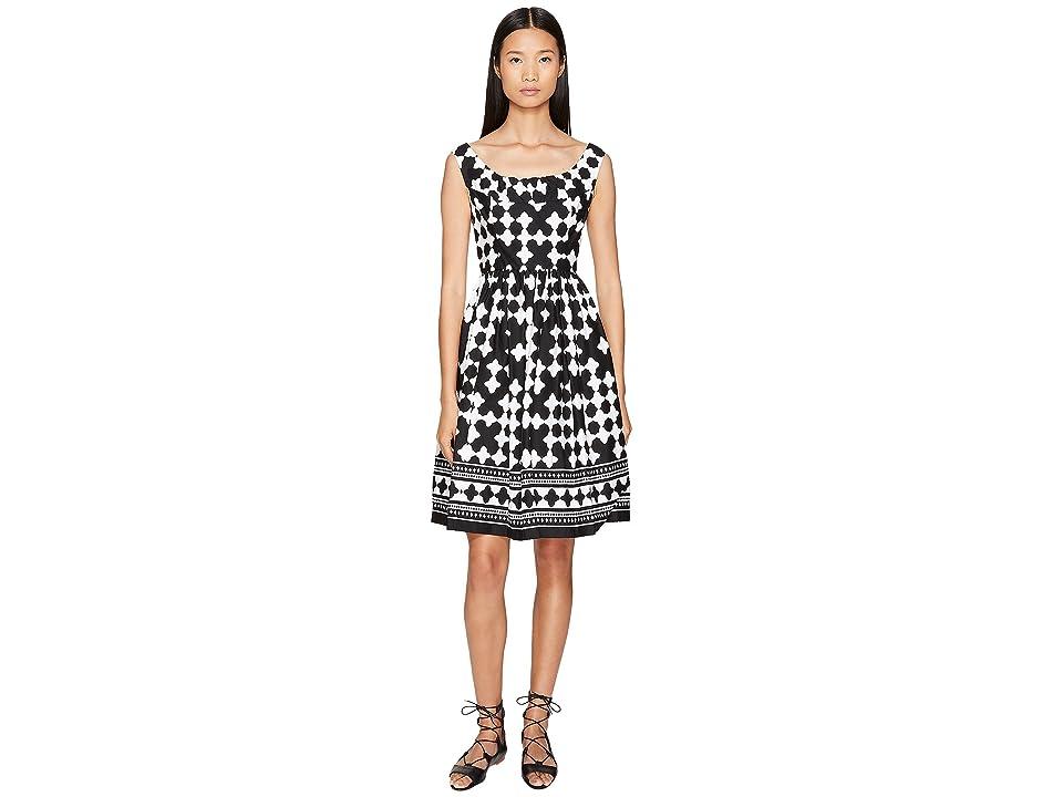 Kate Spade New York Spice Things Up Lantern Scoop Neck Dress (Black/Fresh White) Women
