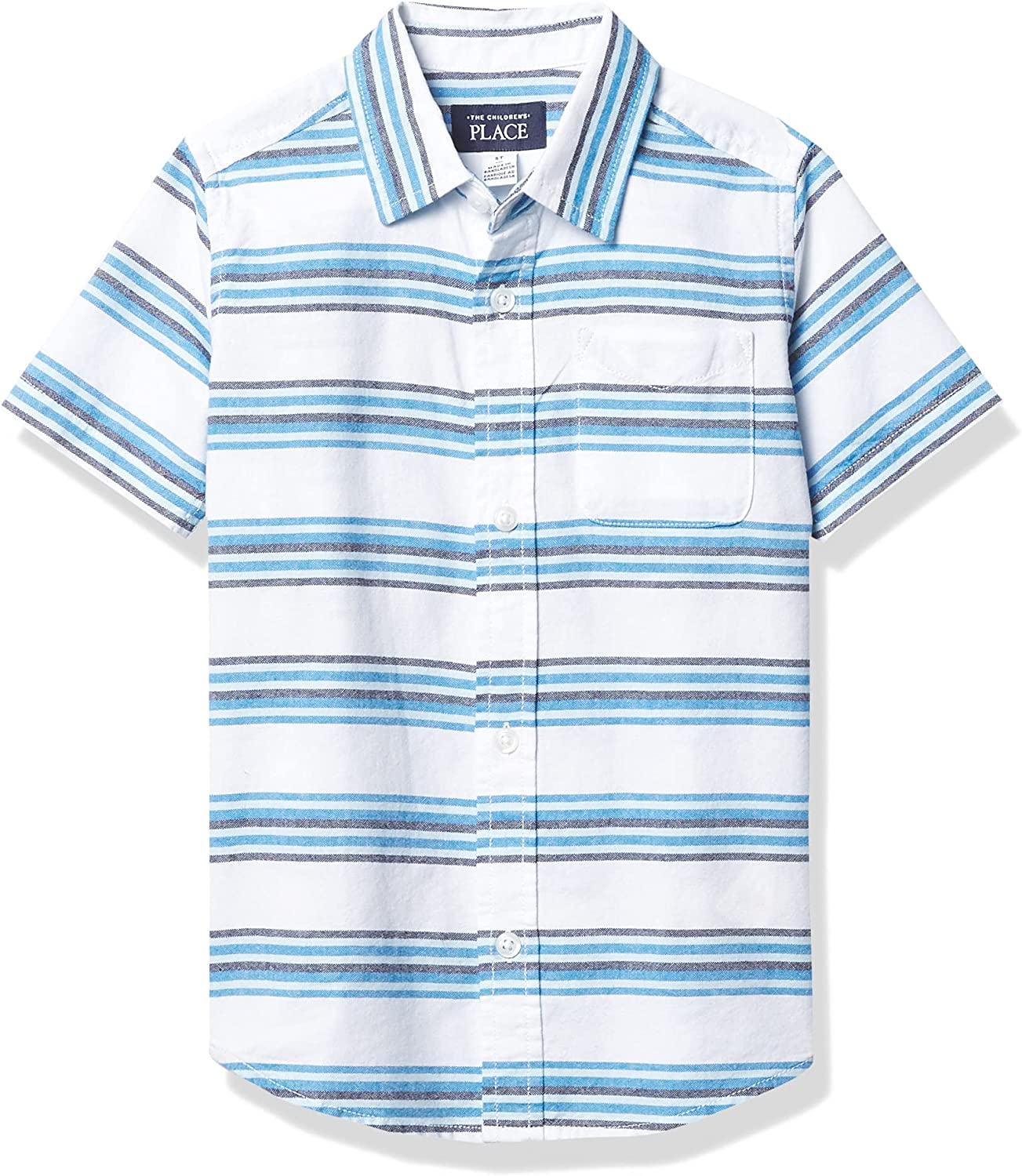 The Children's Place Baby Toddler Boy Short Sleeve Striped Oxford Button Down Shirt