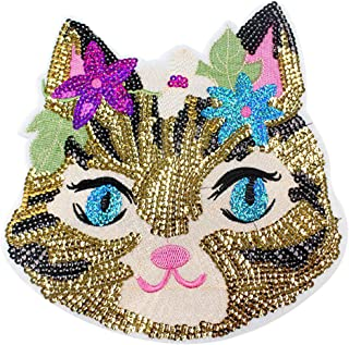 DIY Handmade Materials Shiny Ms. Cat Sequins Iron on Applique Embroidered Patches(Ms. Cat)