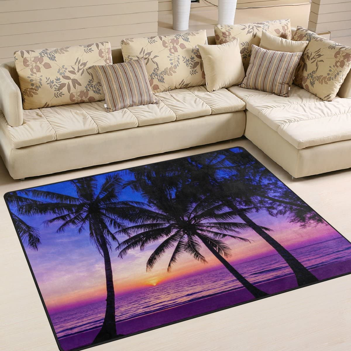 Naanle Ocean Sea Area Rug 5'x7' Trees Beach Free shipping Ranking TOP9 on posting reviews Palm Polyest Sunset