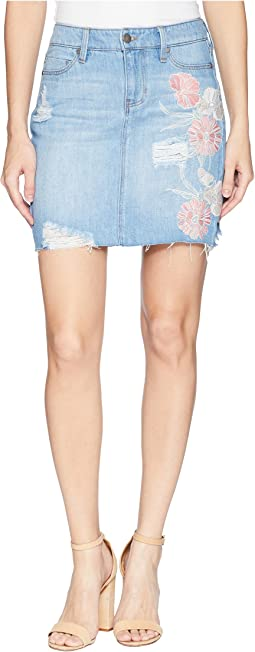 Frey Edge Skirt with Distress in a Classic Soft Rigid Denim in Rivington Shred