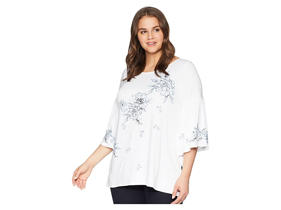 Karen Kane Plus Plus Size Print Bell Sleeve Top (Off-White) Women