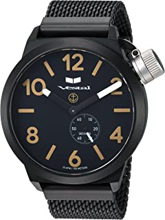 Vestal 'Canteen Metal' Quartz Stainless Steel Casual Watch, Color Black (Model: CNT453M07.MBKM)
