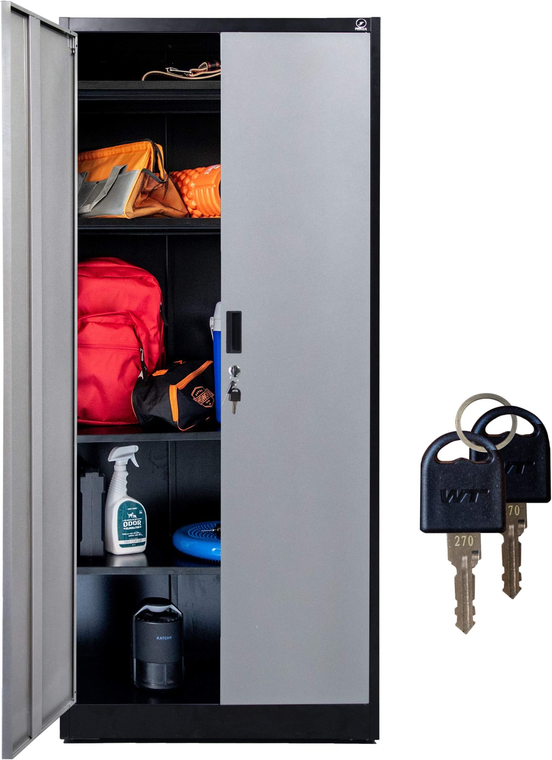 """Fedmax Metal Storage Cabinet - 71"""" Tall w/ Locking Doors & Adjustable Shelves - Steel Utility Cabinets For Garage, Office, Classroom, Kitchen Pantry -70.86"""" L x 31.5"""" W x 15.75"""" D   Black/Gray"""