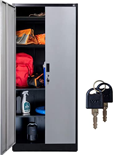 popular Fedmax Metal Garage Storage Cabinet - 71-inch Tall, Large Industrial Locker wholesale with Adjustable Shelves & Locking Doors - Steel Utility Cabinets 2021 for Office, Classroom, Pantry - Black/Grey online sale