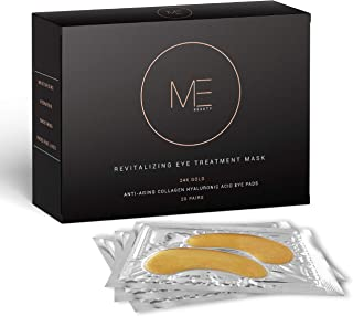 ME Beauty - 24k Gold Under Eye Collagen Mask, All Natural, Moisturizing, Anti Aging Gold Eye Patches - Reduces Puffiness, Wrinkles, Bags, and Dark Circles For Men and Women (20 Pairs)