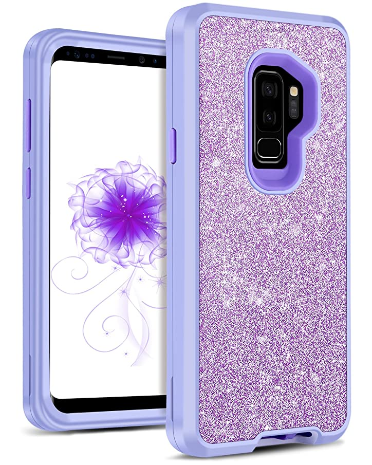 DOMAVER Case Compatible with Galaxy S9 Plus, Glitter Bling Girls Women S9+ Cover 3 in 1 Heavy Duty Hybrid Hard Shockproof Protective Phone Cases for Samsung Galaxy S9 Plus - Lavender/Purple