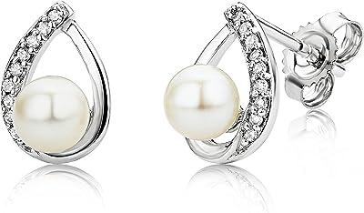 Miore Orecchini Donna Perle di fiume Piccoli a Lobo Diamanti taglio Brillante ct 0.06 Oro Bianco 9 Kt / 375