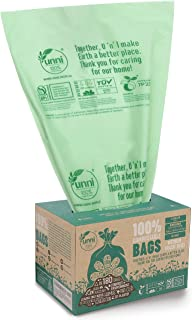 UNNI ASTM D6400 100% Compostable Trash Bags, 6-8 Gallon, 30L, 100 Count, Heavy Duty 0.85 Mils, Medium Home Garbage Liners, Portable Toilet Replacement Bags, US BPI and Europe OK Compost Home Certified