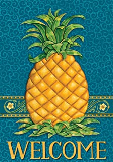 Pineapple Welcome - Garden Size, Decorative Double Sided, Licensed and Copyrighted Flag - MADE IN USA by Custom Decor Inc. 12 Inch X 17.99 Inch approx.