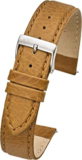 Soft Stitched Semi Padded Genuine Leather Buffalo Grain Watch Band in Extra Long for Wider Wrists ONLY- Black, Brown, Tan in Sizes 18XL to 26XL (fits Wrist Sizes 7 1/2 to 9 inch)