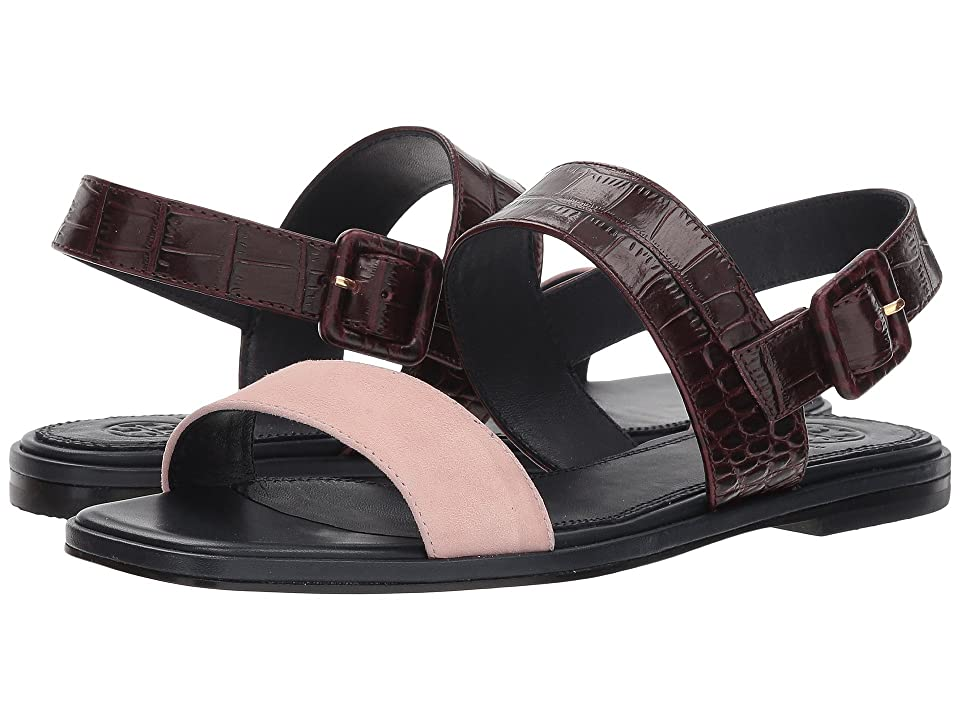 Tory Burch Delaney Flat Sandal (Sea Shell Pink/Malbec) Women