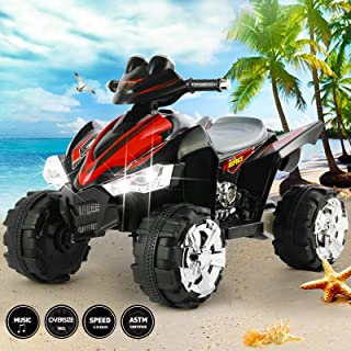 Fitnessclub 12V Electric Kids Ride On ATV Quad Treaded Tires LED Lights 4 Wheeler Ride On Car 2 Speeds, Head Lights, 4 Wheels (Black)