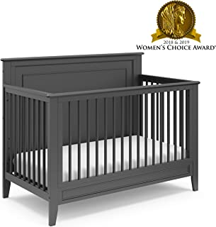 Storkcraft Solstice 4-in-1 Convertible Crib (Gray) - Easily Converts into Toddler Bed, Daybed, or Full-Size Bed