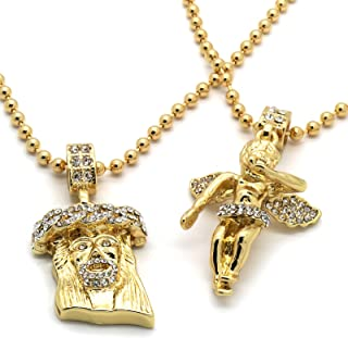 Mens Gold Plated Jesus Angel Piece Combo Set Cz Pendant 3mm 27