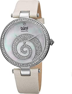 Burgi Swarovski Encrusted Crystals Women's Watch - Sparkled Swirl on Mother of Pearl Dial – A Diamond Marker on a Genuine Leather Strap - BUR143