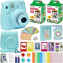 Fuji Instax Mini 9 Instant Camera ICE Blue w/Case + Fuji Instax Film Value Pack (40 Sheets) for Fujifilm Instax Mini 9 Camera + Accessories, Color Filters, Photo Album, Selfie Lens + More