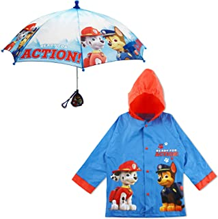 Nickelodeon Little Boys Paw Patrol Character Slicker and Umbrella Rainwear Set, Age 2-7