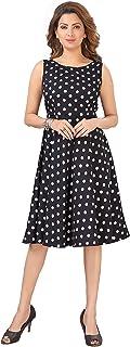 DESI VESI Women's Black & White Polka Dot Print Sleeveless Knee Length Midi Western Dress