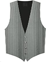 Victorian Vagabond Steampunk Gothic Men's Striped Vest Silver Gray/Black