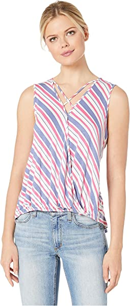 Denim/Fuchsia Chevron Stripe