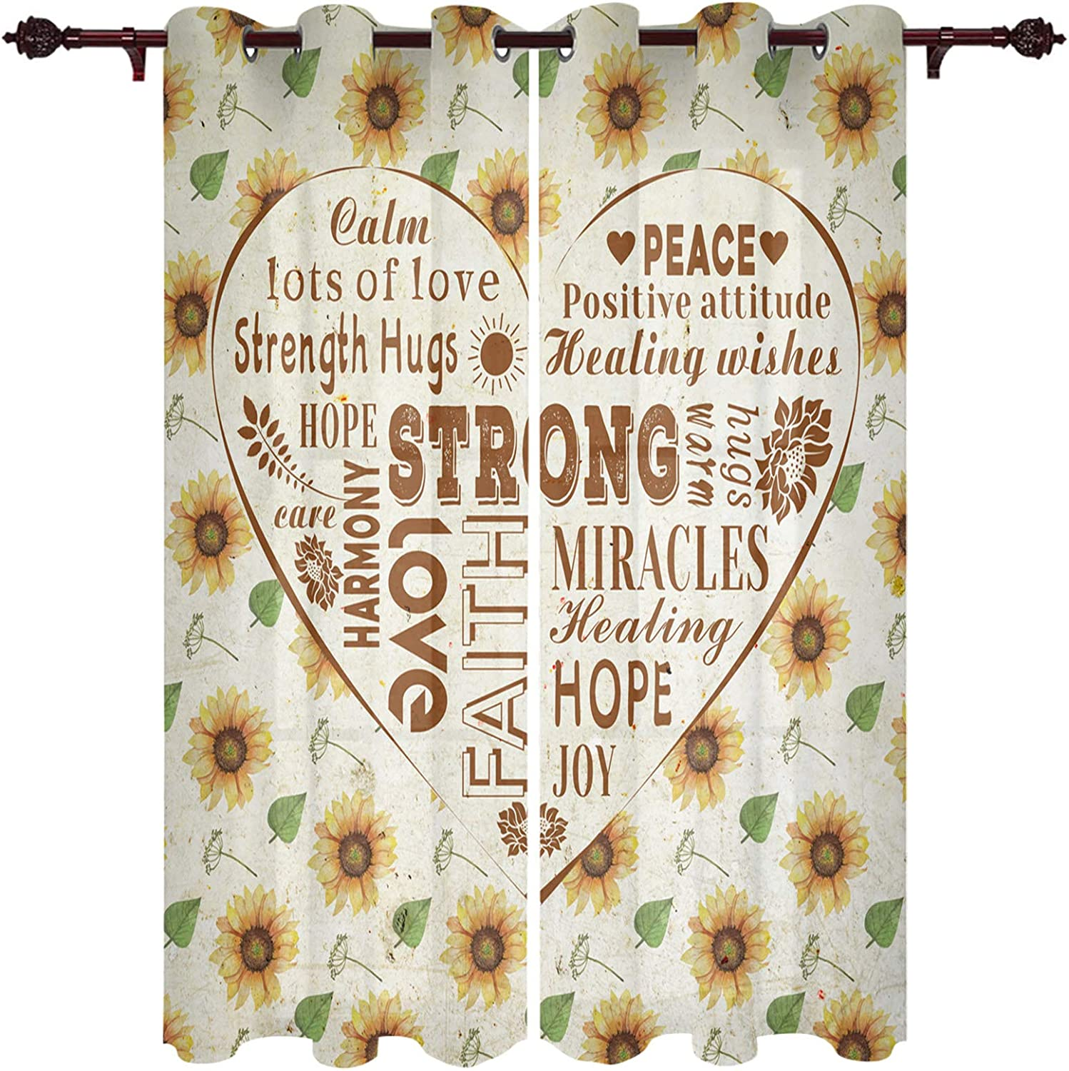 URDER 2 Curtain discount Panels Chicago Mall Grommet Drapes Window for Sunflow Bedroom