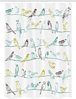 Ambesonne Birds Stall Shower Curtain, Various Type of Birds Sitting and Chirping on Wires Musical Creatures Print, Fabric Bathroom Decor Set with Hooks, 54
