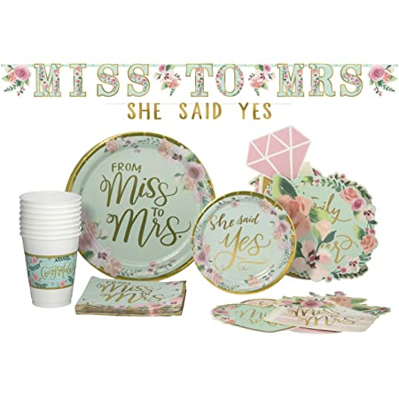 Amazon Com Bridal From Miss To Mrs Pack Disposable Paper Plates Banner Kit Photo Prop Cutouts Napkins And Cups Set For 15 With Free Extras Kitchen Dining