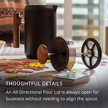 Fellow Clara French Press Coffee Maker - Portable Stainless Steel Coffee Press, Insulated Manual Brewer, Matte Black with Wal