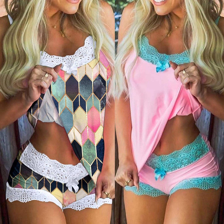 Gerichy Lingerie for Women Plus Size, Womens Pajama Set Lace Trim Cami Tops Shorts Sexy Sleepwear Set Plus Size Outfits