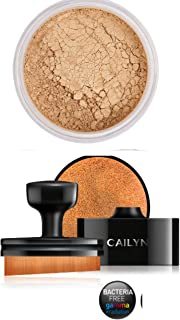 Bundle 2 Items: Deluxe Mineral Foundation Mica Powder + O Wow Circle Brush 35˚ Angle for Every Corner of the Face Palm Grip (MF6-WARM TAN)