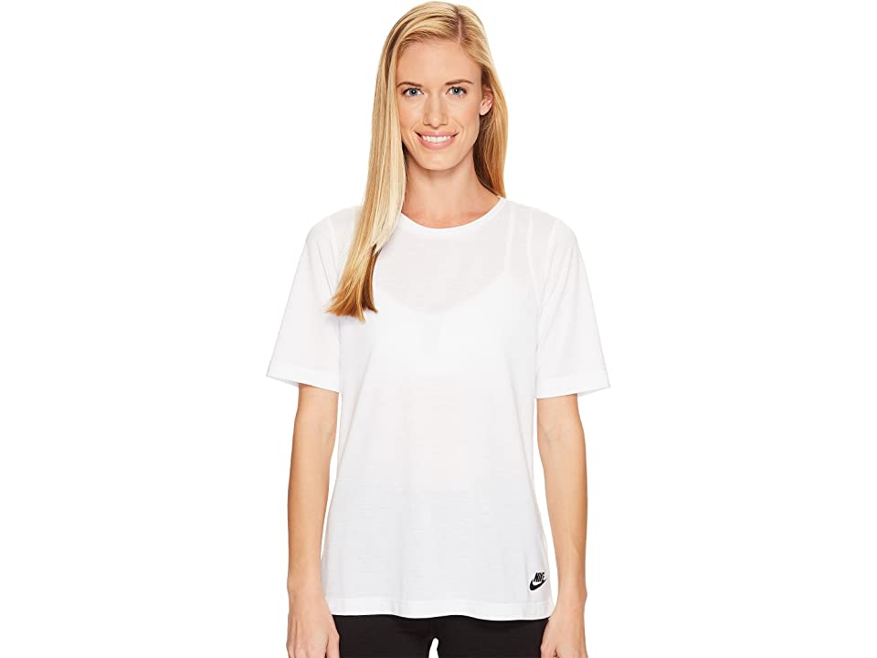 Nike Sportswear Essential Tee (White/White/Black) Women
