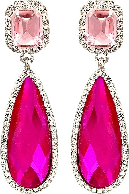 Iris Island Womens Austrian Crystal Rhinestone Teardrop Dangle Earrings Fuchsia Pink for Proms Wedding Party