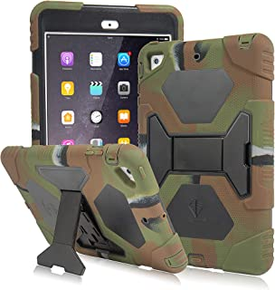 AMEISEYE Kids Case for iPad Mini 1 2 3 Full Body Protective Silicone Cover with Screen Protector Resistant Shockproof Scratchproof & Adjustable Kickstand for Apple iPad Mini 1/2/3 Case (Army/Black)