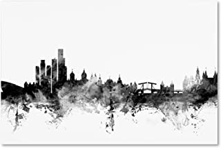Amsterdam Skyline B&W by Michael Tompsett, 12x19-Inch Canvas Wall Art