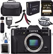 Fujifilm X-T20 Mirrorless Digital Camera (Black) 16542490 + NP-W126 Lithium Ion Battery + Sony 64GB SDXC Card + Carrying Case + Flexible Tripod + Flash + Memory Card Wallet Bundle